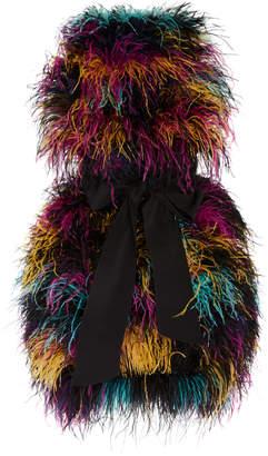 Prabal Gurung Daska Belted Feather Mini Dress