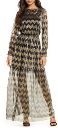 Brinker & Eliza Metallic Chevron Stripe Long Sleeve Maxi Dress