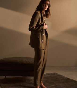 Reiss BREA PLEAT FRONT TAILORED LINEN TROUSERS Khaki