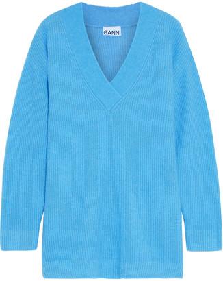 Ganni Oversized Brushed Ribbed-knit Sweater