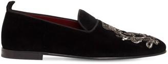 Dolce & Gabbana Logo Embroidery Cotton Velvet Slippers