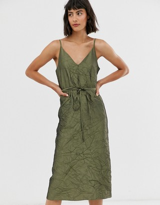 Asos crushed taffeta tie waist slip dress-Green