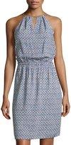 MICHAEL Michael Kors Printed Sleeveless Halter Dress, Real Navy