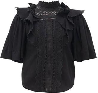 Isabel Marant Ioleya Pompom-trim Crinkled Cotton-blend Blouse - Womens - Black