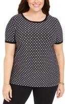 Anne Klein Plus Size Printed Button-Back Top