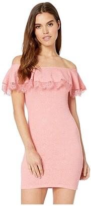 BCBGeneration Off the Shoulder Ruffle Bodycon Dress (Peach) Women's Dress