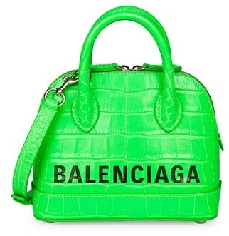 Balenciaga Extra Extra-Small Ville Neon Croc-Embossed Leather Top Handle Bag