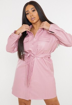 Missguided Plus Size Pink Faux Leather Utility Pocket Shirt Dress