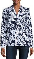 MICHAEL Michael Kors Floral Tie-Neck Top, White