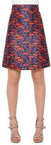 Akris Punto The Oval High-Waist A-Line Skirt, Navy/Rust