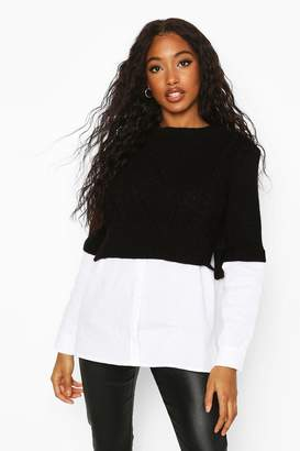 boohoo Cable Knit 2 In 1 Jumper & Shirt