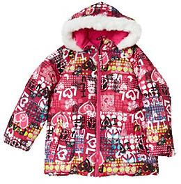 Hawke & Co Hawke Co Girls' 2T-6X Pink Party Print Bubble Jacket