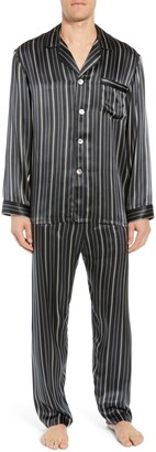 Majestic International Fresh Ink Stripe Silk Pajama Set