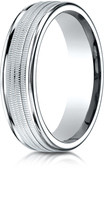 Ice Platinum 6mm Comfort-Fit High Polished Round Edge Design Wedding Band