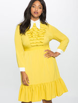 ELOQUII Plus Size Tiered Ruffle Butterfly Collar Dress