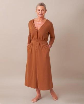 Beaumont Organic Ruth Organic Cotton Dress In Coffee - Coffee / Large
