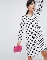 UNIQUE21 Unique 21 polka dot wrap dress