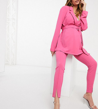 ASOS DESIGN Maternity jersey over bump slim split front suit trousers in magenta