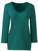 Classic Women's Petite 3/4 Sleeve Lace Trim Top-Ivory/Midnight Indigo Stripe