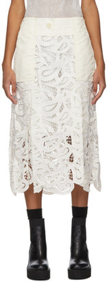 Sacai Off-White Embroidered Paisley Lace Skirt