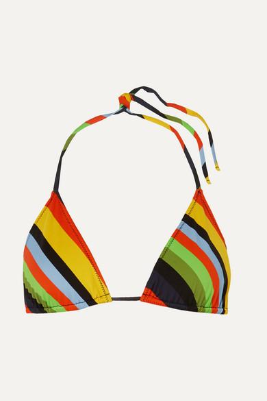 Ganni Striped Triangle Bikini Top - Yellow