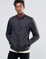 Replay Lightweight Quilted Nylon Biker Jacket in Black