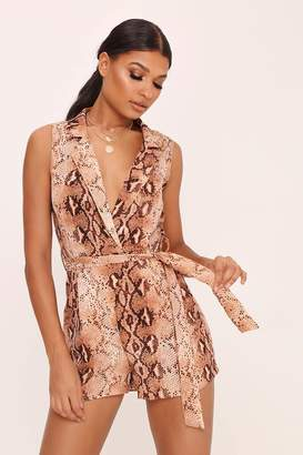 I SAW IT FIRST Brown Snake Print Playsuit