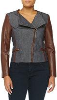 Michael Kors Denim Moto Jacket W/ Leather