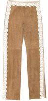 Valentino Lace-Trimmed Suede Pants