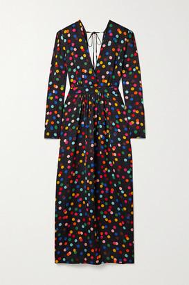 Racil Polka-dot Floral-jacquard Maxi Dress - Black