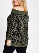 Bardot Ri Plus Leopard Print Sweat - Khaki
