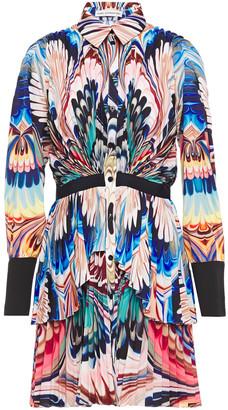 Mary Katrantzou Tiered Printed Silk Crepe De Chine Mini Shirt Dress