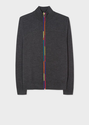 Paul Smith Men's Dark Grey Merino Wool-Blend Cardigan With Zip Detail