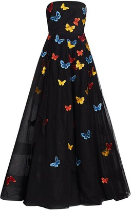 Ahluwalia Embroidered Butterflies Strapless Gown