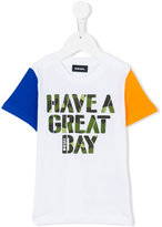 Diesel colour block slogan T-shirt - kids - Cotton - 2 yrs