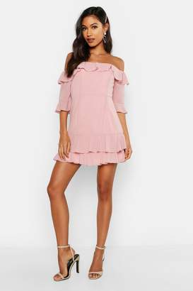 boohoo Chiffon Ruffle Off The Shoulder Mini Dress