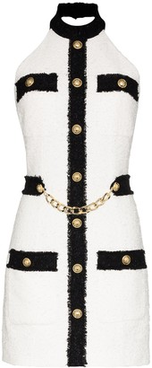 Balmain Halter Neck Contrast Tweed Mini Dress