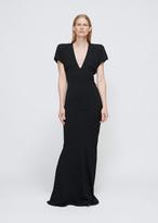 Gareth Pugh Black Crepe Long V-Neck Shoulder Pad Dress
