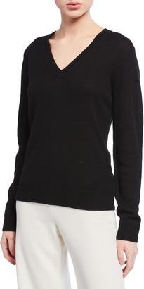 Theory V-Neck Long-Sleeve Cashmere Sweater
