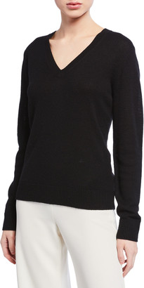 Theory V-Neck Long-Sleeve Cashmere Sweater