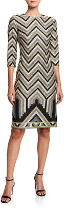 Trina Turk Imperial Metallic Chevron Jacquard Sheath Dress