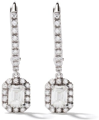 As 29 18kt white gold Mye pave diamond drop hoop earrings