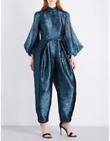 DELPOZO Metallic relaxed-fit silk-blend jumpsuit