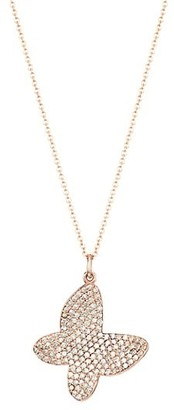 Nina Gilin 14K Rose Gold & Diamond Pave Butterfly Pendant Necklace