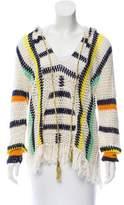 Anna Kosturova Fringe Trimmed Open Knit Sweater w/ Tags