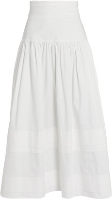 Shona Joy Amaia Ruched Poplin Midi Skirt