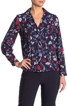 Nanette Lepore Nanette Floral Pleated Notch Collar Blouse