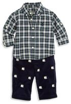 Ralph Lauren Baby's Three-Piece Plaid Shirt, Embroidered Corduroy Pants & Belt Set