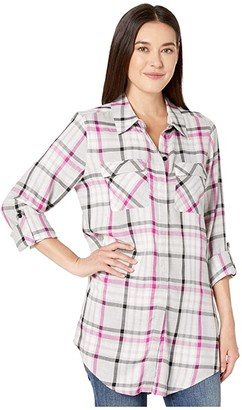 Vince Camuto Long Sleeve Plaid Highlight Two-Pocket Tunic (Pink Shock) Women's Blouse