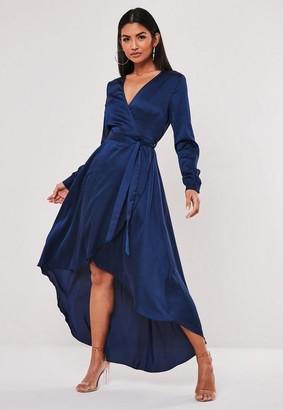 Missguided Navy Satin Wrap Ruffle Midi Dress